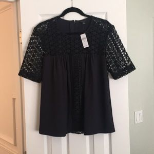 Ann Taylor Navy Lace Sleeve Blouse
